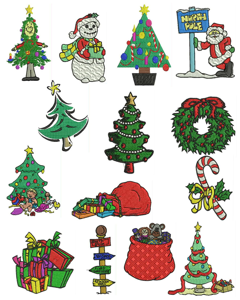 Christmas machine embroidery designs set free font