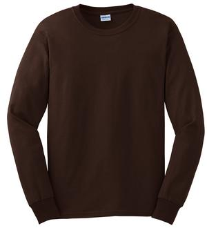 Gildan long sleeve chocolate brown plain t shirt mens tee for Mens chocolate brown shirt