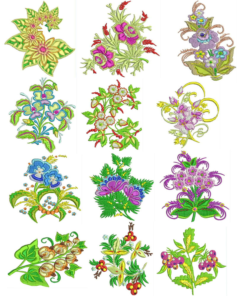 Beautiful flowers machine embroidery designs set brother