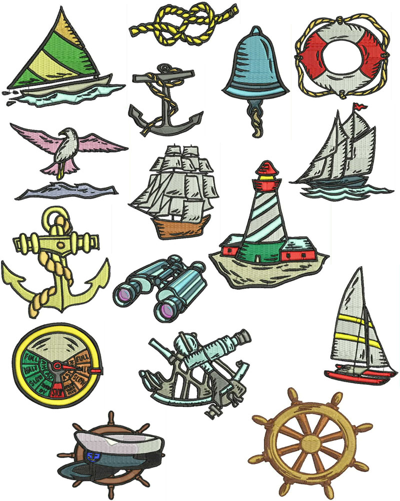 22 awesome nautical embroidery patterns makaroka nautical and boats machine embroidery designs amp free font bankloansurffo Gallery